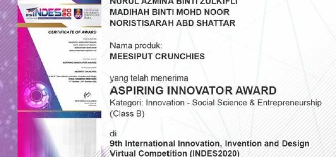Tahniah atas kemenangan di 9th International Innovation, Invention and Design Virtual Competition (INDES2020) - Aspiring Innovator Award
